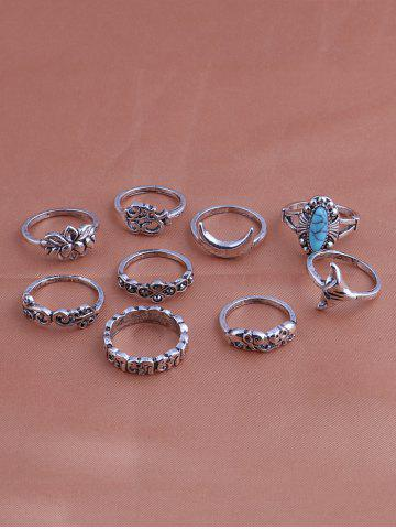 Discount Faux Turquoise Elephant Moon Alloy Ring Set - SILVER  Mobile