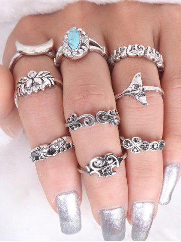 Online Faux Turquoise Elephant Moon Alloy Ring Set - SILVER  Mobile