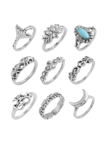 Fashion Faux Turquoise Elephant Moon Alloy Ring Set - SILVER  Mobile