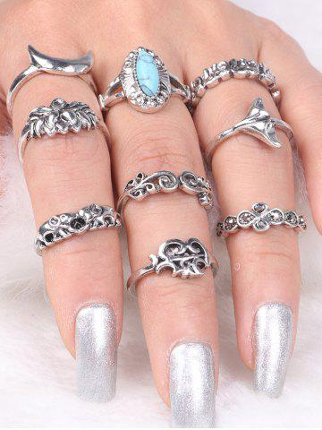 Sale Faux Turquoise Elephant Moon Alloy Ring Set - SILVER  Mobile