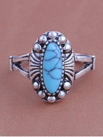 Hot Faux Turquoise Elephant Moon Alloy Ring Set - SILVER  Mobile