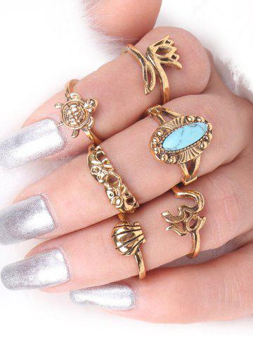 Outfits Alloy Faux Turquoise Elephant Tortoise Ring Set - GOLDEN  Mobile