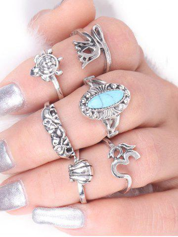 New Alloy Faux Turquoise Elephant Tortoise Ring Set - SILVER  Mobile