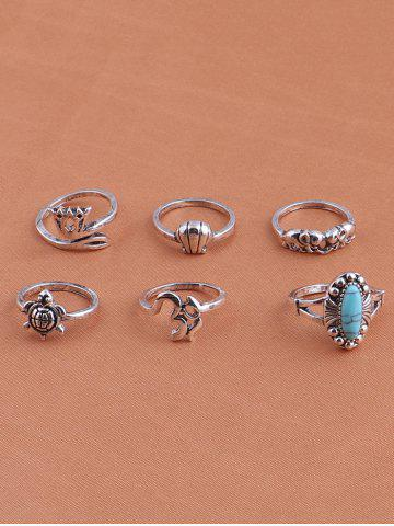 Cheap Alloy Faux Turquoise Elephant Tortoise Ring Set - SILVER  Mobile