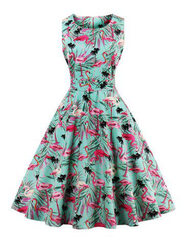 Buy Vintage Floral Fit and Flare Dress GREEN M