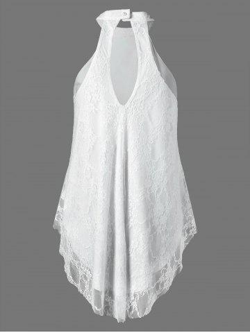 Latest Cut Out Floral Lace Tank Top - 2XL WHITE Mobile