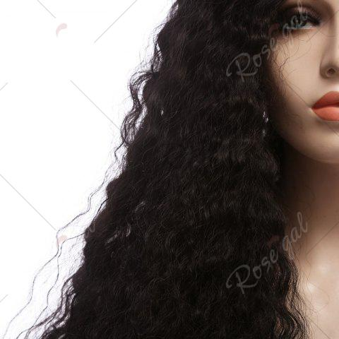 Fashion Towheaded Long Curly Synthetic Lace Front Wig - NATURAL BLACK 04A#  Mobile