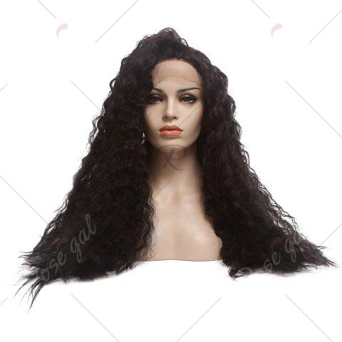 Fancy Towheaded Long Curly Synthetic Lace Front Wig - NATURAL BLACK 04A#  Mobile