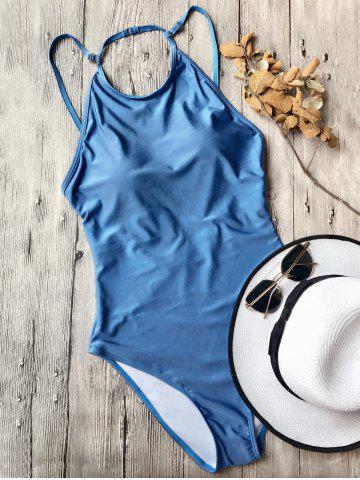 Store Open Back High Neck Swimsuit - L BLUE Mobile