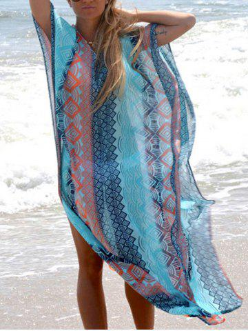 Fancy Geometric Print Slit Bohemian Maxi Dress