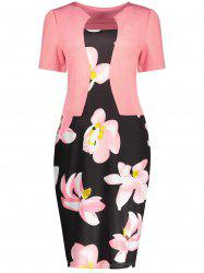 Notched Collar Floral Sheath Dress - ORANGEPINK