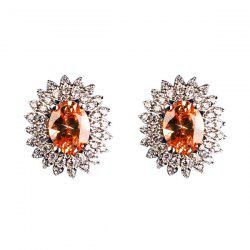 Rhinestone Artificial Crystal Oval Stud Earrings