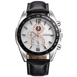 OUKESHI Faux Leather Strap Quartz Tachymeter Watch