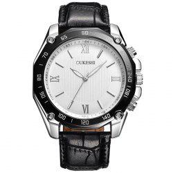 OUKESHI Faux Leather Strap Roman Numeral Watch -