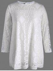 Plus Size Semi Sheer Lace Long Sleeve Blouse