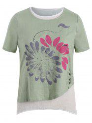 Plus Size Layered Chinese Button Printed Linen Top