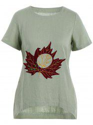 Plus Size Linen Maple Leaf Embroidered  Top