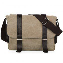 Metal Double Pocket Canvas Messenger Bag - KHAKI