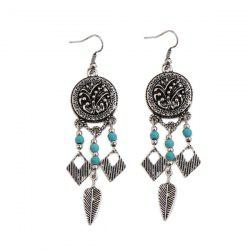 Artificial Turquoise Geometric Leaf Circle Earrings