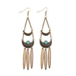 Artificial Turquoise Moon Chain Drop Earrings