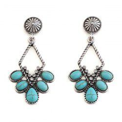 Artificial Turquoise Rhinestone Geometric Earrings