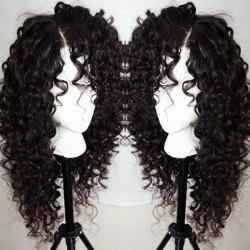 Long Curly Side Parting Lace Front Synthetic Wig - NATURAL BLACK 04A#