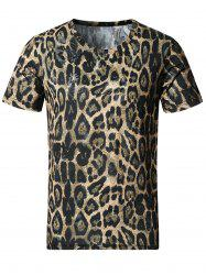 Stretchy 3D Leopard Print Smooth T-Shirt