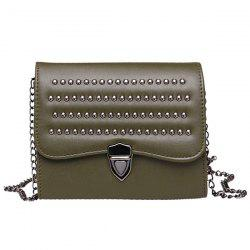 Rivets Chain Push Lock Crossbody Bag