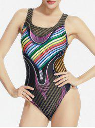 Cross Back One Piece Striped Swimwear