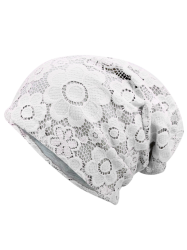 Striking Lace Breathable Floral Hat - WHITE