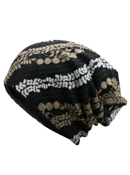 Lace Floral Layered Beanie