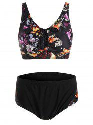 Plus Size Padded Butterfly Print Bathing Suit
