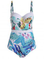 Palm Leaf Print Plus Size Padded Swimsuit