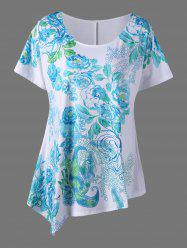 Plus Size Asymmetric Floral Blossom Printed T-Shirt