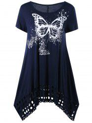 Butterfly Print Long Cutout Swing T-Shirt