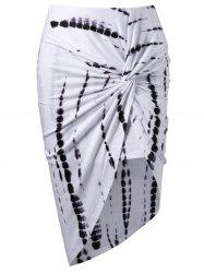 Tie Dye Asymmetric Knot Skirt - WHITE
