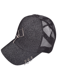 Metallic Circles Hollow Out Rhombic Baseball Cap - FEATHER GRAY