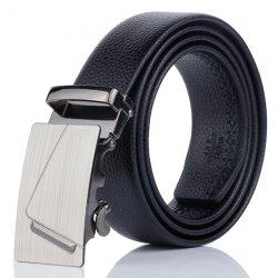 Automatic Rectangular Buckle Faux Leather Belt