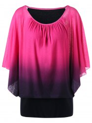 Ombre Butterfly Sleeve Plus Size T-Shirt