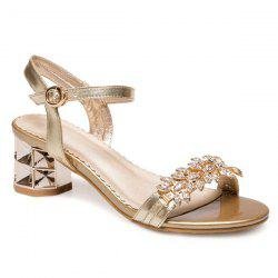 Rhinestones Mid Heel Sandals - GOLDEN