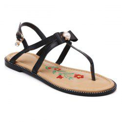 Faux Pearl Embroidery Sandals