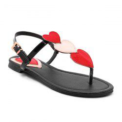 Heart Pattern Color Block Sandals