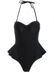 Open Back Underwire Flounce One Piece Push Up Swimsuit