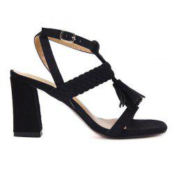 Tassels Weaving Block Heel Sandals