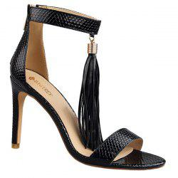Zipper Tassels Faux Leather Sandals
