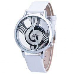 Faux Leather Band Music Notation Watch