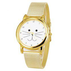 Cartoon Cat Face Number Analog Watch