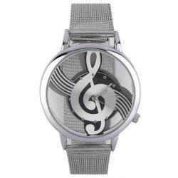 Steel Mesh Band Music Notation Watch - Argent