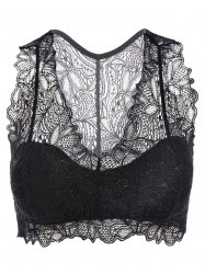 Padded Racerback Lace Crop Tank Top