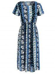 Stretch Waist Elephant Print Midi Dress